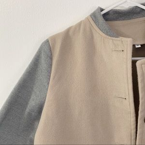 Jackets & Coats - Beige and grey color block pea coat